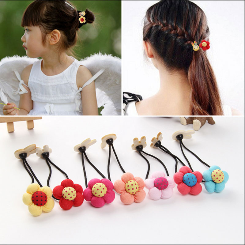 M MISM New Girls Elastic Hair Bands Flower With Rabbit Ear scrunchy Kids Hair Rope Hair Accessories Double Head Rubber Bands m mism new arrival korean style girls hair elastics big bow dot flora ponytail rubber hair rope hair accessories scrunchy women