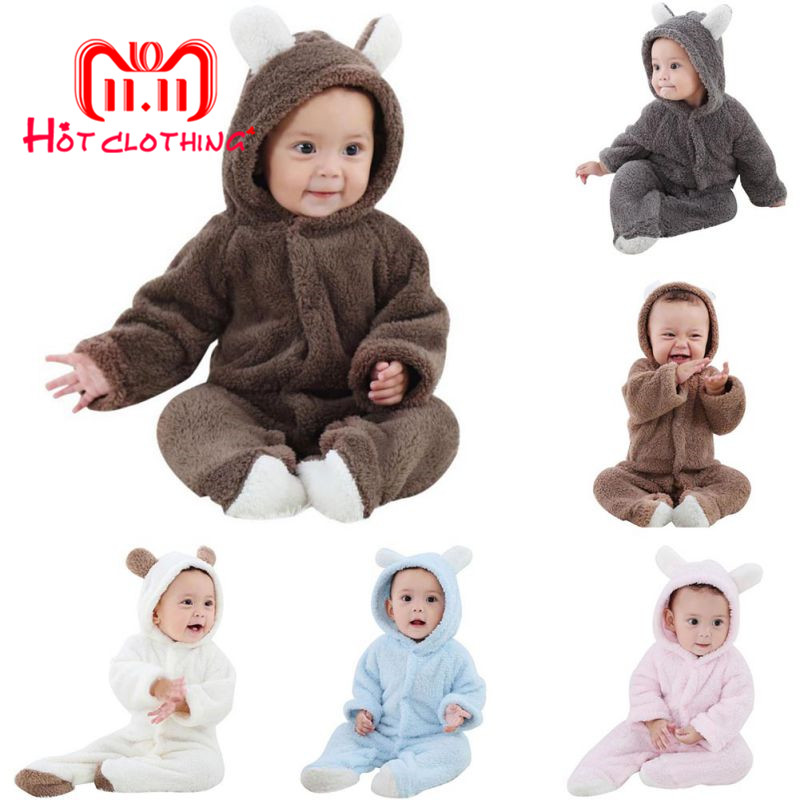 Baby Rompers Newborn Baby Girl Clothes Set Cute 3D Bear Ear Jumpsuit Baby Boy Clothes Set Autumn Winter Warm Baby Clothing Set 2018 summer brand romper baby girl clothes sleeveless baby girl clothing newborn rompers cute butterfly kids boy cute jumpsuit