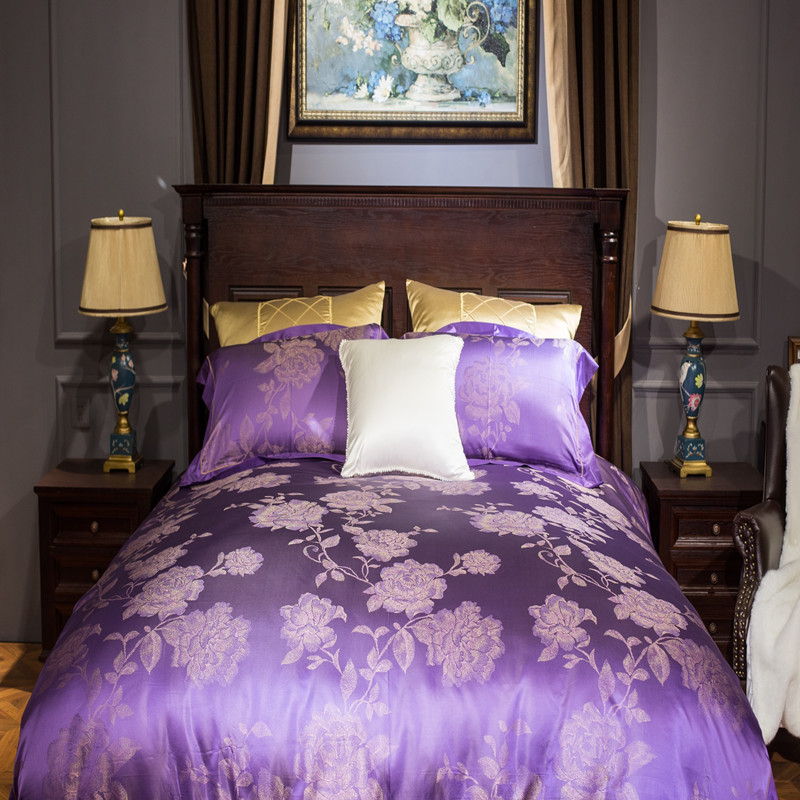 silk bedding purple embroidery comforter set king size luxury european bed sheet adult floral bed linens home decor jacquard