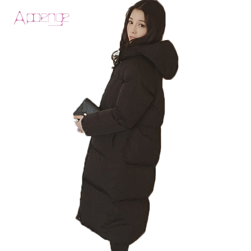 APOENG 2017 New Slim Padded Coat For Women Long Winter Jacket Wadded Snow Coats Causal Hooded Parkas Zipper Parka LZ420 apoeng women cotton padded jackets with gloves 2017 new winter coats candy color long parkas plus size hooded coat 5xl 6xl lz456