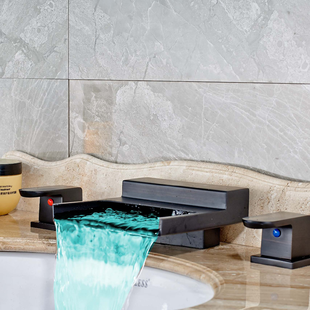 Modern Oil Rubbed Bronze LED Color Changing Square Waterfall Bathroom Basin Faucet Mixer Tap Square Dual Handles allen roth brinkley handsome oil rubbed bronze metal toothbrush holder