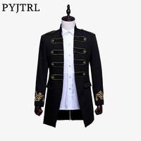 PYJTRL Men Double Breasted England Style Long Slim Fit Blazer Design Wedding Groom Suit Jacket Mens