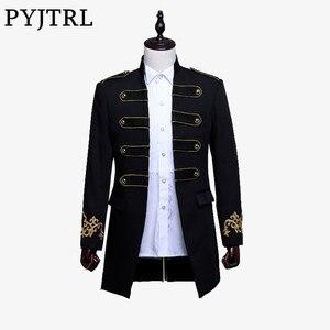 Image 1 - PYJTRL Men Double breasted England Style Long Slim Fit Blazer Design Wedding Groom Suit Jacket Mens Stage Wear Singer Costume