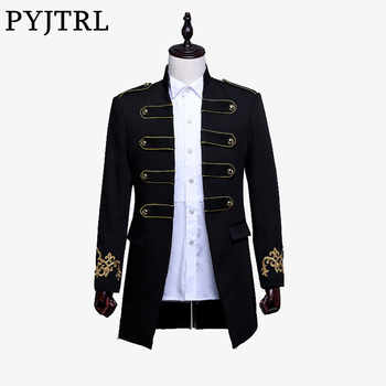 PYJTRL Men Double-breasted England Style Long Slim Fit Blazer Design Wedding Groom Suit Jacket Mens Stage Wear Singer Costume - DISCOUNT ITEM  45% OFF All Category