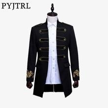 PYJTRL erkekler kruvaze İngiltere tarzı uzun Slim Fit Blazer tasarım düğün damat takım elbise ceket erkek sahne giyim şarkıcı kostüm