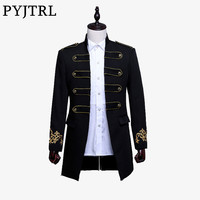 PYJTRL Men Double breasted England Style Long Slim Fit Blazer Design Wedding Groom Suit Jacket Mens Stage Wear Singer Costume
