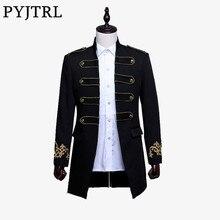 Pyjtrl homens de dois breasted inglaterra estilo longo fino ajuste blazer design casamento noivo terno jaqueta masculino roupa de palco traje cantor