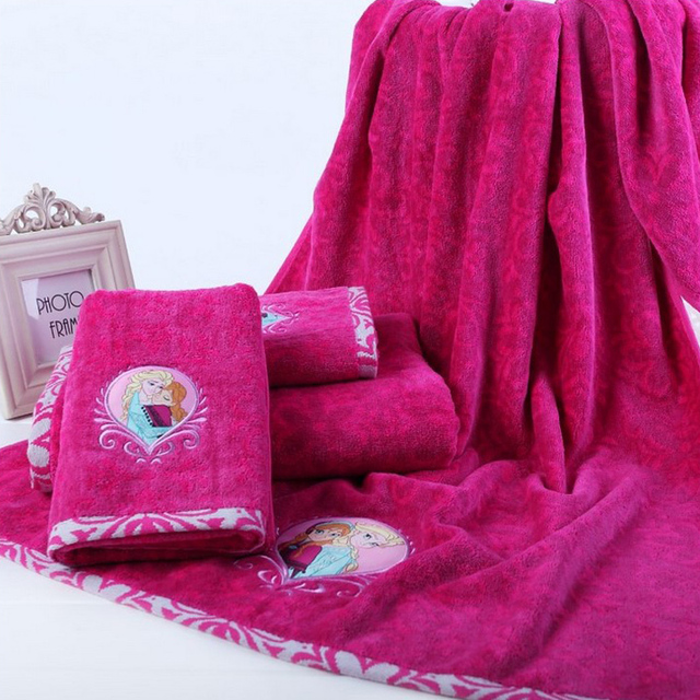High quality 100% cotton cut pile towel set cartoon embroidered towels hand  towel facecloth and