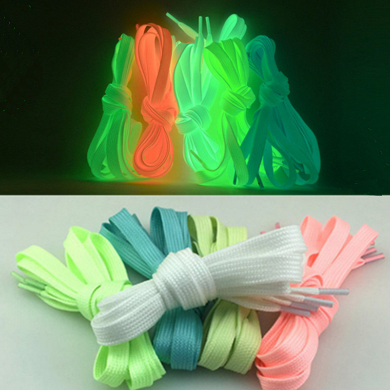 1Pair Sport Luminous Shoelace Athletic Sport Flat Shoe Laces Glow In The Dark Night Color Fluorescent Shoelace Free Shopping 1pair 100cm sport luminous shoelace glow in the dark color fluorescent shoelace athletic sport shoe laces reflective shoelaces