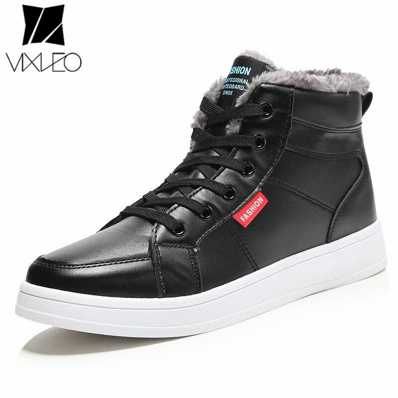 VIXLEO Super Warm Winter Men Boots High Quality Autumn Snow Boots Men Waterproof Soft pu Leather Footwear Shoes Men Ankle Boots