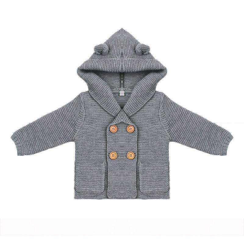 1dd013d26840 Baby Mädchen Stricken Strickjacke Einfarbig Herbst Winter Pullover für  Kinder Lange Hülse Mit Kapuze Mantel Outwear Kinder Kleidung - WLOG.ME