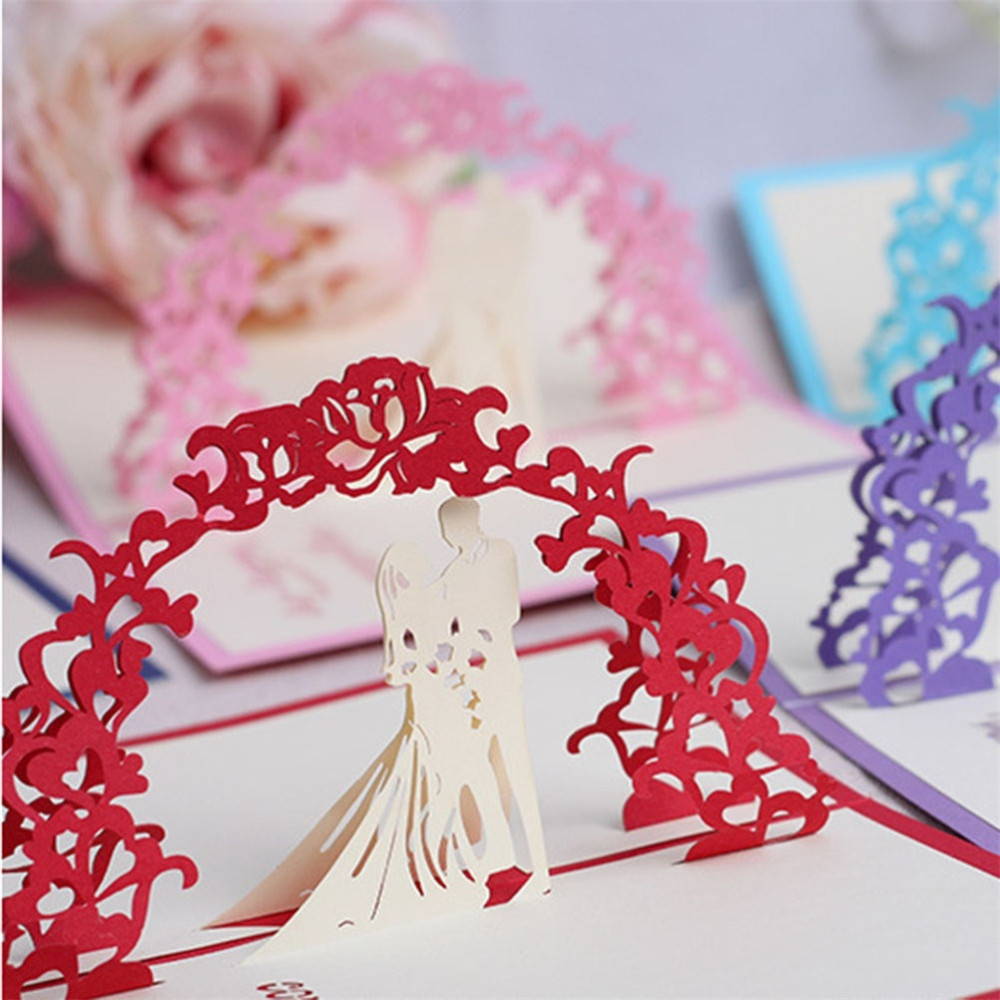 N2HAO 1 PCS New 3D Laser Cut Stereoscopic Bride & Groom Promise ...
