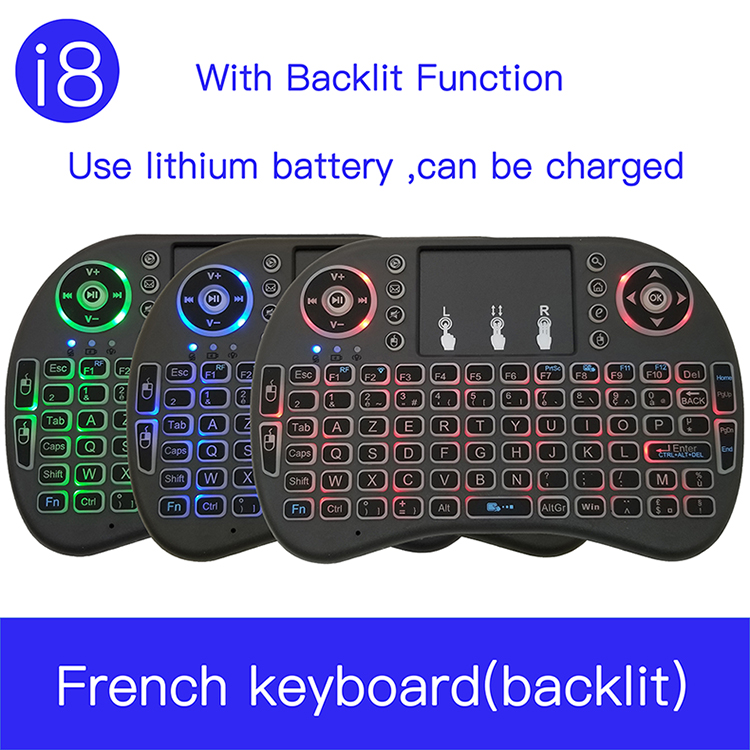 I8 French 7 Color Backlit 2.4G Mini Wireless Français Keyboard  TouchPad Mouse For Google Android TV Box, Mini PC, Laptop AZERTY