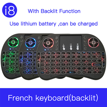 i8 French 7 Color Backlit 2.4G Mini Wireless français Keyboard  TouchPad Mouse for Google Android TV Box, Mini PC, Laptop AZERTY new for samsung np940x3g np940x3f french laptop keyboard backlit