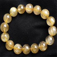 13mm Brazil Natural Yellow Gold Rutilated Quartz Crystal Round Beads Stretch Charm Women Men Bracelet