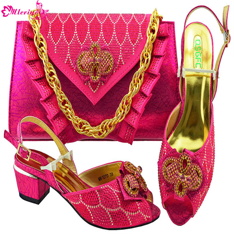 Italian Designer Shoe and Bag Matching Set African Women Wedding Shoes and Bag Set Decorated with Rhinestone Italian Shoes Women doershow african women matching italian red color shoes and bag set decorated with rhinestone italian ladies shoe and bag sab1 2