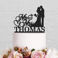 Personalized MR MRS Ring Wedding Cake Topper Acrylic Cake Topper With Last Name Date Wedding Decoration