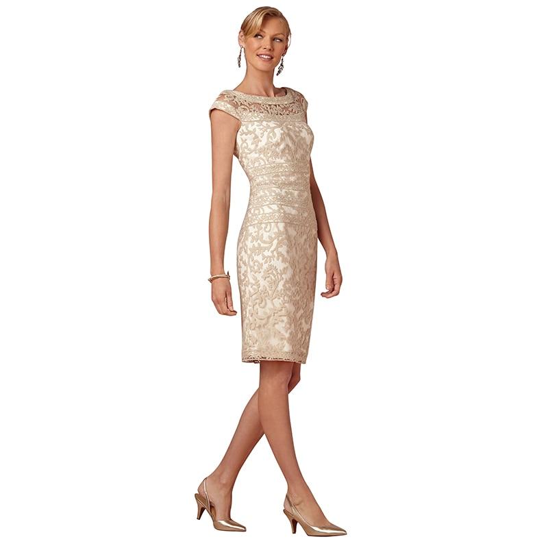 Champagne Short Straight Knee Length Godmother Wedding