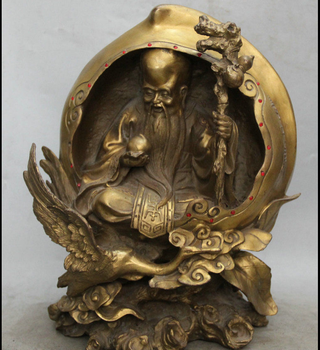 zhmui8800283925<+16 Chinese Folk Brass Longevity God Crane Peach Crutch Shou Statue Sculpture statue
