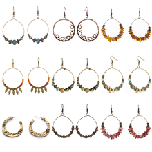 Купить с кэшбэком New vintage jewelry earring Ethnic big round circle golden drop earrings for women gift Crystal shells wooden beads earings 2019