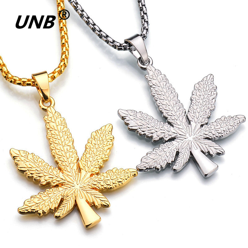 UNB 2017 New Gold Silver Plated <font><b>Cannabiss</b></font> Small Weed Herb Charm <font><b>Necklace</b></font> Maple Leaf Pendant <font><b>Necklace</b></font> Hip Hop Jewelry Wholesale image