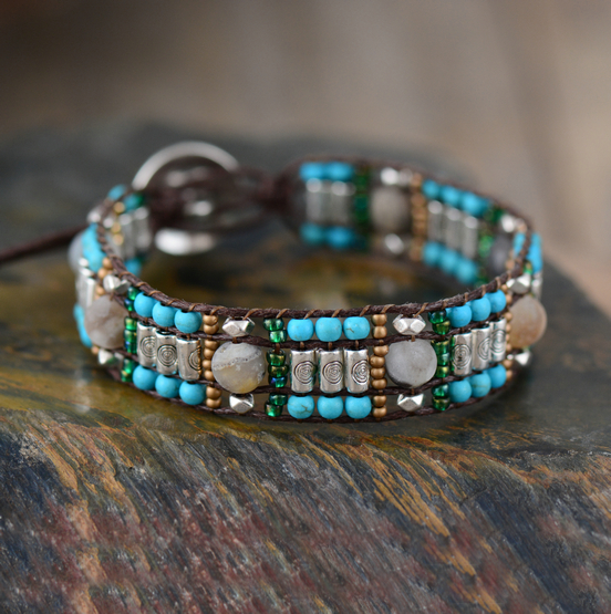 Us 7 97 11 Off New Cuff Bracelets Natural Stones Seed Beads Wrap Bohemian Weaving S Bracelet Jewelry Gifts In From