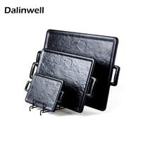 Dalinwell 100 Melamine Restaurant Dinnerware Plastic Black Rectangle Round Trays With Handle Hot Pot Flat Plate