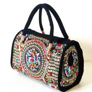 Image 4 - Bolsa feminina de lona, bolsa de ombro bordada floral étnica vintage de mensageiro