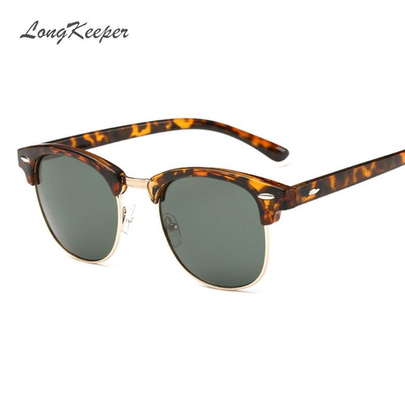 LongKeeper Polarized Sunglasses Women Men Brand Designer Semi-Rimless Sun Glasses Rivet Half Frame Eyewear Black Gold Leopard 600rr anahtarlık
