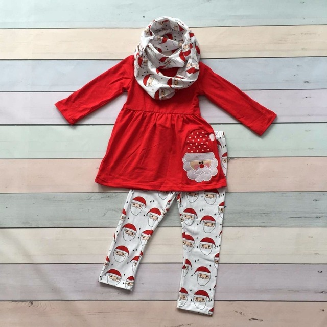 Santa Claus Fall/Winter outfits baby red 3pieces scarf print white Christmas cat top pant sets clothes cotton girls boutique