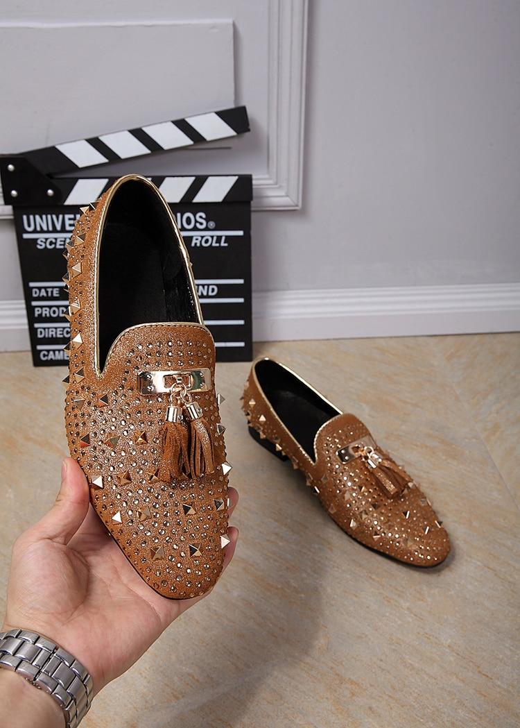 2017 Gold Toe Men Tassel Loafer Creepers Shoes For Men Casual Falt Bead Mocassin Luxury Calzado Hombre Men Dress Party Shoe