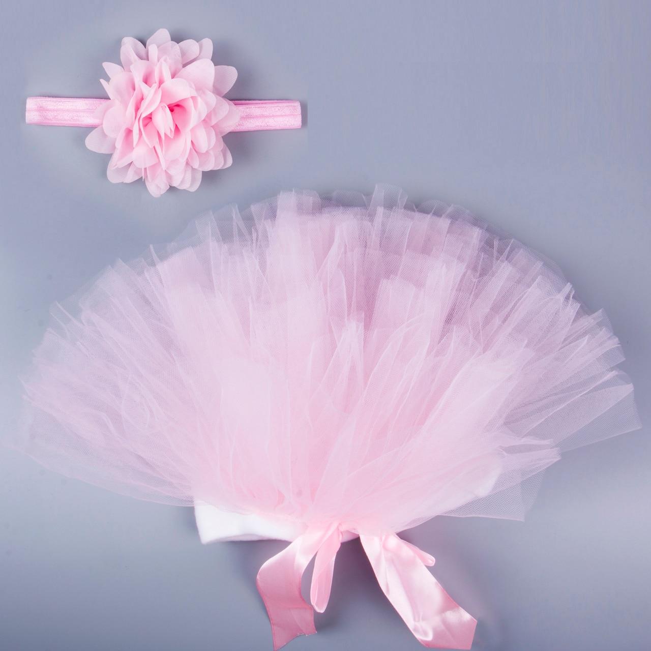 0-24M Newborn Toddler Infant Baby Tutu Clothes Skirt Headdress Flower Photography Prop 2PCS Outfit 0-24M