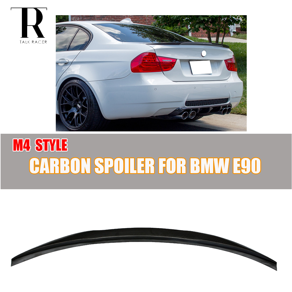 E90 320i 320d Carbon Fiber Rear Boot Lip Wing Spoiler for BMW E90 320i 325i 330i 335i 320d 325d 330d 335d 2005 - 2011 M4 Style pu rear wing spoiler for audi 2010 2011 2012 auto car boot lip wing spoiler unpainted grey primer