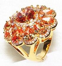 AAA circón de color champán circón plateado oro hermoso anillo de flor de gama Alta y elegante