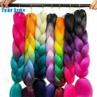 "Ihre Stil 24 ""100g Synthetische Ombre Farbe Flechten Haar Extensions Für Jumbo Häkeln Haar Zöpfe African Gefälschte Haar"