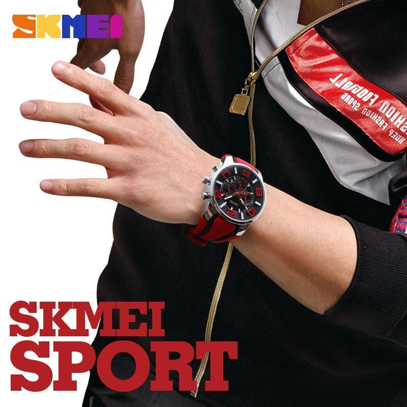 ФОТО New SKMEI Watches Men Sport Watch Outdoor Casual Quartz Wristwatch Waterproof Military Chronograph Clock Relogio Masculino 9128