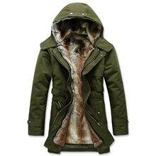 S-3XL 2016 стильная мужская добавить шерсть теплая зима долго хлопка-мягкие одежды/Мужской slim fit долго В Мао дэн куртка с капюшоном/