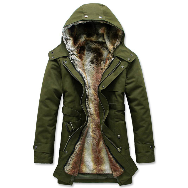 S-3XL 2016 stylish men add wool warm winter long cotton-padded clothes/Male slim fit long Within Mao Dan hooded jacket/