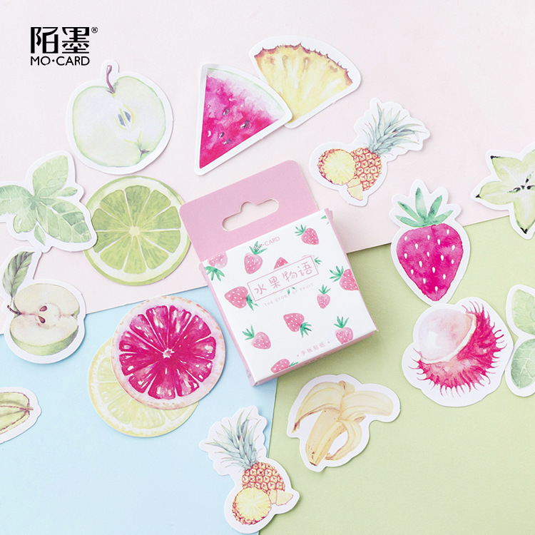 45PCS/box New Cute Fruit Story Diary Paper Lable Sealing Stickers Crafts And Scrapbooking Decorative Lifelog DIY Stationery