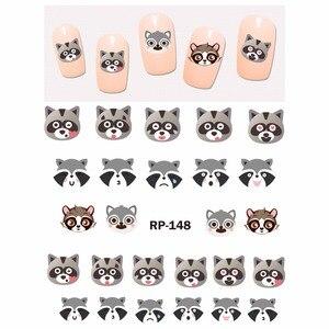 Image 2 - เล็บความงามเล็บสติกเกอร์รูปลอกน้ำการ์ตูนSLIDERสัตว์KANGAROO RACCOONแมวXMAS HEDGEHOG RP145 150