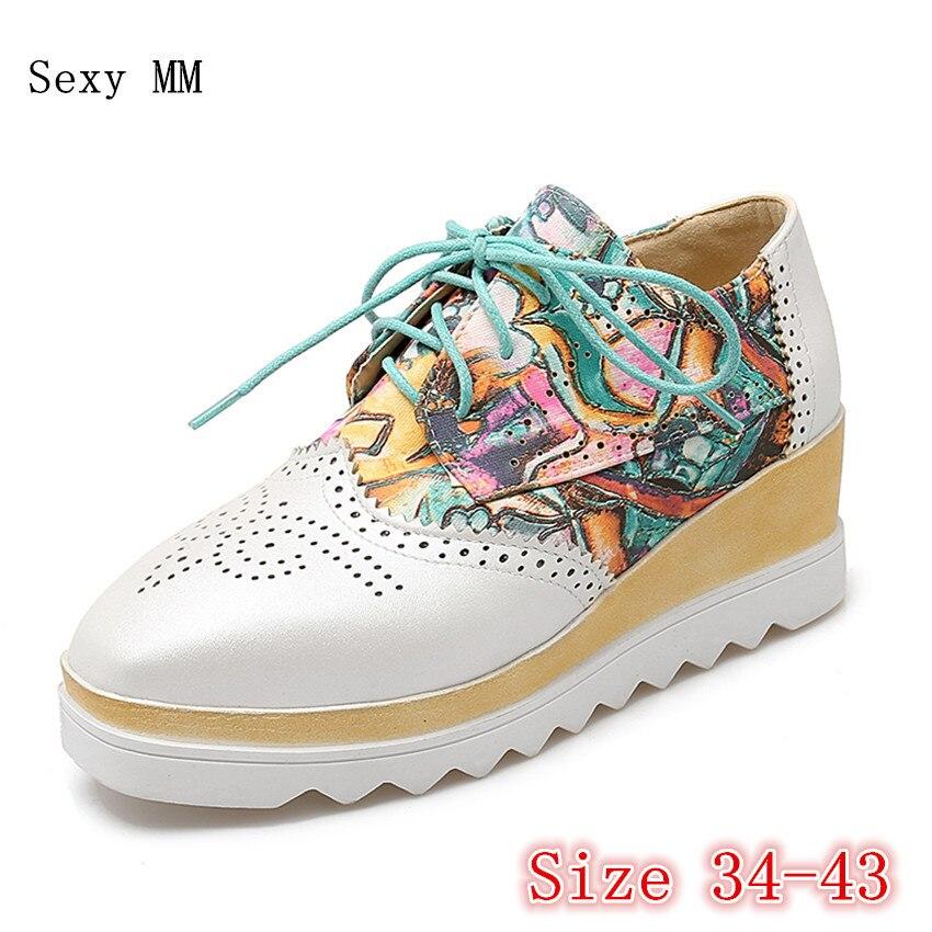 Flat Platform Oxfords Brogue Shoes Women Wedges Flats Slip-On Lace Up Platform Wedge Casual Shoes Plus Size 35-40.41.42.43