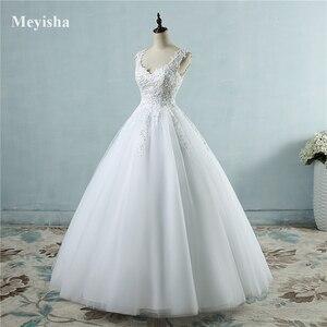 Image 1 - Vestido de baile para noivas, vestido de casamento elegante, branco marfim, com borda no pescoço, tamanhos grandes zj9076 2019 2020