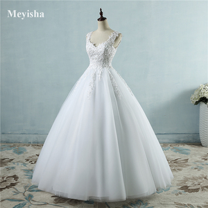 Image 1 - ZJ9076 2019 2020 新ホワイトアイボリー夜会服のウェディングドレス花嫁のためのレースの恋人レースエッジプラスサイズ
