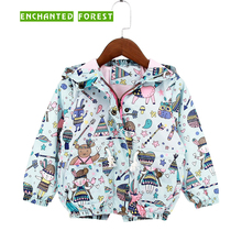 Childrens Coats New Polyester Fabric Clothes Spring and Autumn Girls Jacket Doodle Windproof Kids Outerwear