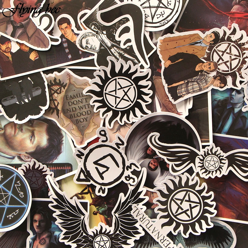 Image 4 - Flyingbee 37 Pcs Supernatural Sticker Graffiti Punk Stickers for DIY Sticker on Travel case Laptop Skateboard Fridge X0029-in Stickers from Consumer Electronics