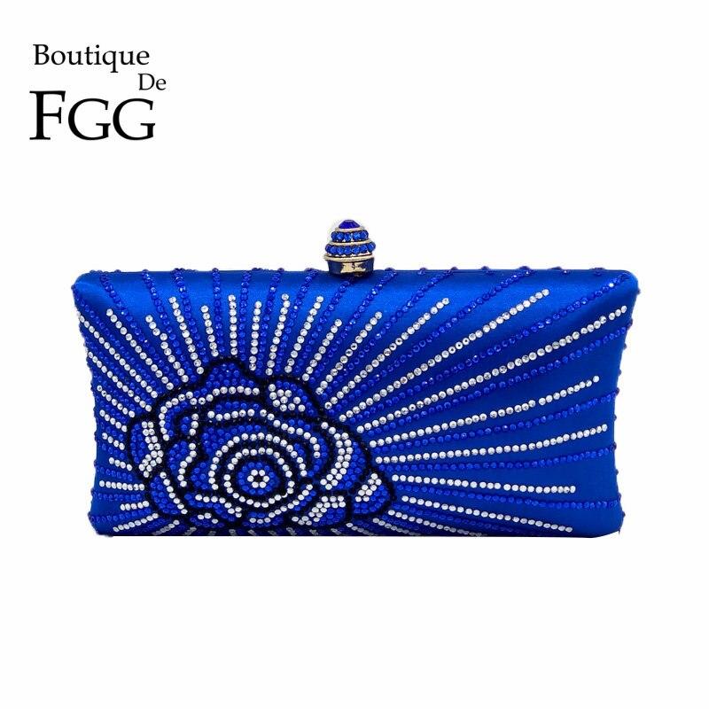 Royal Blue Crystal Rhinestones Flower Mini Metal Clutches For Women Evening Clutch Box Bag Wedding Party Bridal Handbag Purse