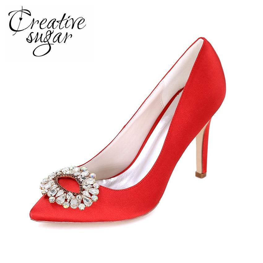 Creativesugar signora scarpe da sera in raso tacchi alti con fascino di  cristallo a punta della 2f92594fc95f