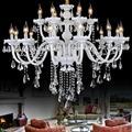 Home weiß glas kronleuchter kristall beleuchtung 110 240 V E14 moderne led kerze kronleuchter für wohnzimmer Restaurant Salon lampada-in Kronleuchter aus Licht & Beleuchtung bei