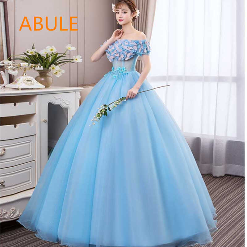 b8e4048a312 abule Quinceanera Dresses 2018 srtapless lace up blue ball gown prom dress  illusion Gown 15 Years