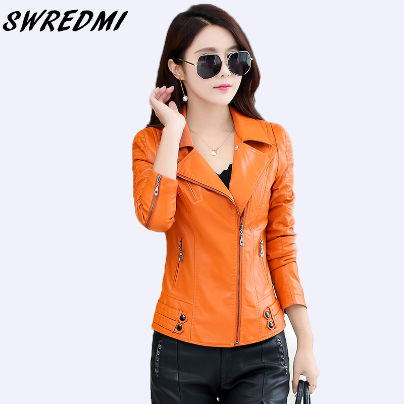 SWREDMI Motorcycle   Leather   Coat Women Zipper Biker   Leather   Jacket Outerwear Plus Size M-4XL Slim Ladies Clothing   Suede